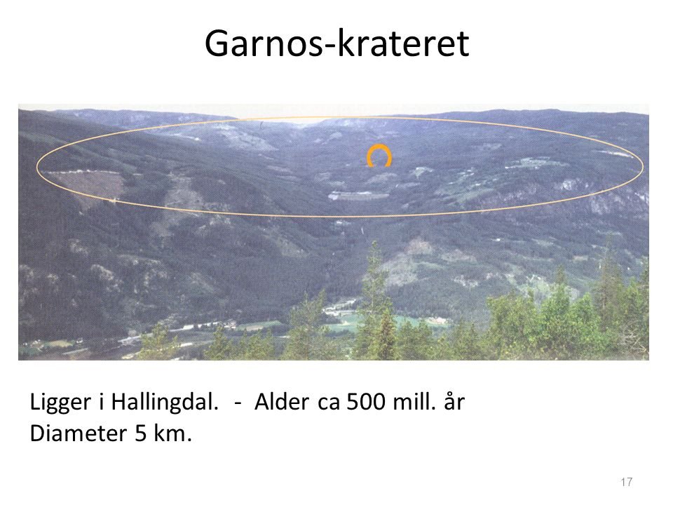 17 Garnos-krateret Ligger i Hallingdal. - Alder ca 500 mill. år Diameter 5 km.