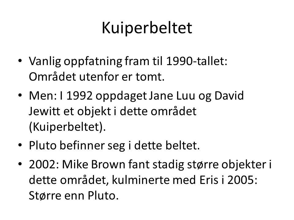 Kuiperbeltet Vanlig oppfatning fram til 1990-tallet: Området utenfor er tomt. Men: I 1992 oppdaget Jane Luu og David Jewitt et objekt i dette området