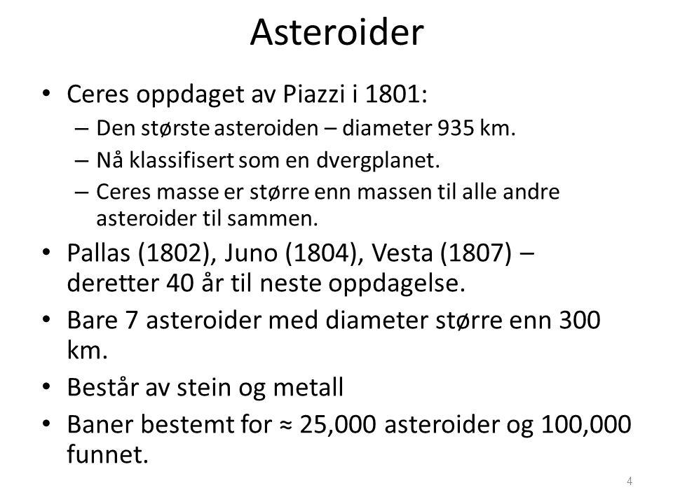 4 Asteroider Ceres oppdaget av Piazzi i 1801: – Den største asteroiden – diameter 935 km. – Nå klassifisert som en dvergplanet. – Ceres masse er størr
