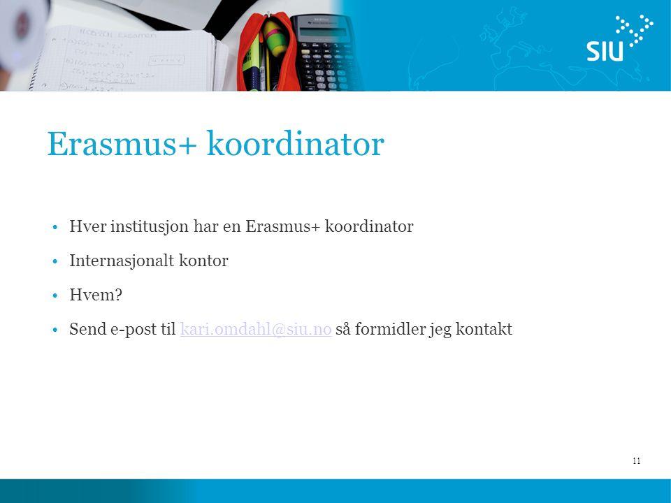 11 Erasmus+ koordinator Hver institusjon har en Erasmus+ koordinator Internasjonalt kontor Hvem? Send e-post til kari.omdahl@siu.no så formidler jeg k