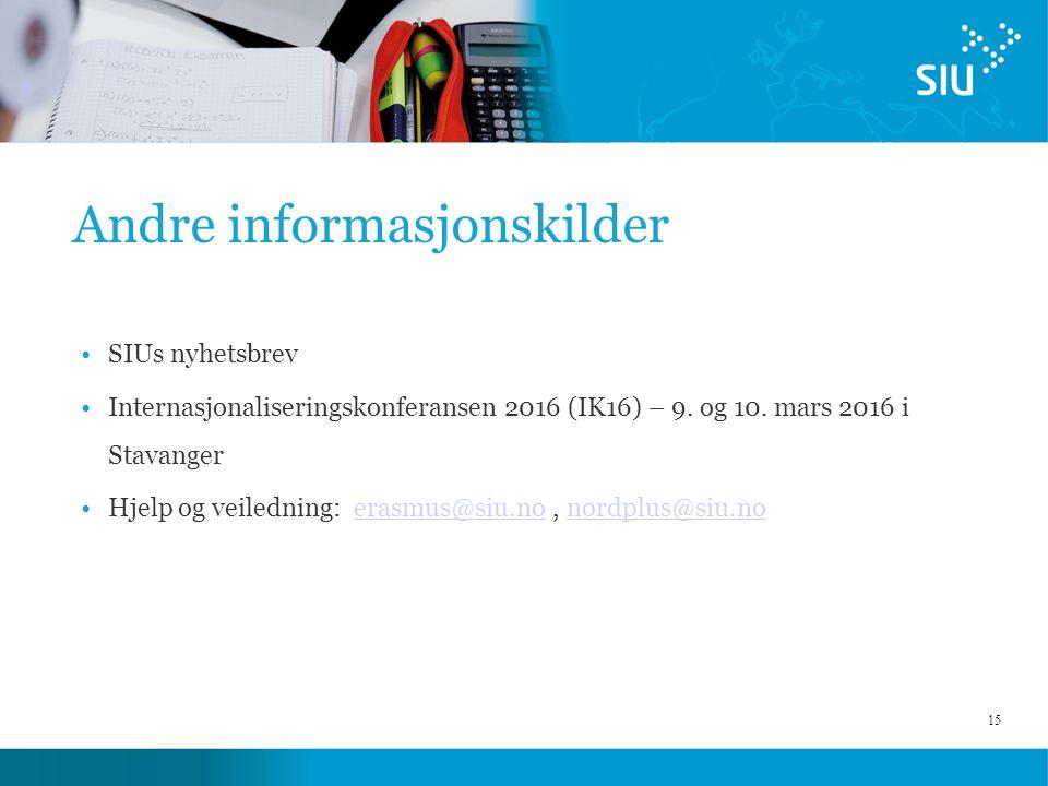 15 Andre informasjonskilder SIUs nyhetsbrev Internasjonaliseringskonferansen 2016 (IK16) – 9. og 10. mars 2016 i Stavanger Hjelp og veiledning: erasmu