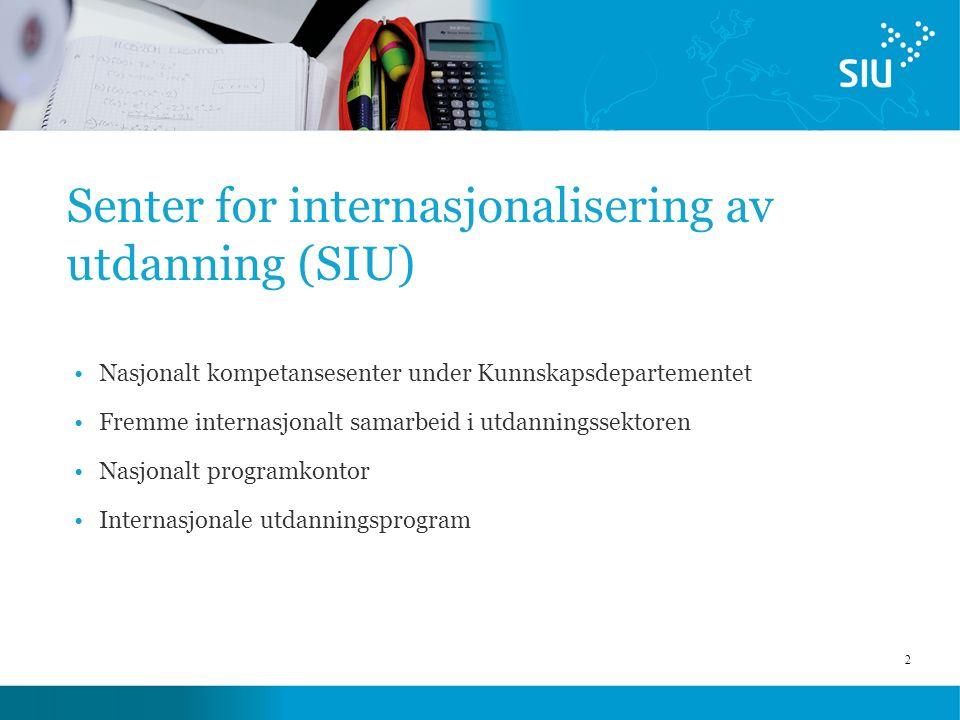 2 Senter for internasjonalisering av utdanning (SIU) Nasjonalt kompetansesenter under Kunnskapsdepartementet Fremme internasjonalt samarbeid i utdanningssektoren Nasjonalt programkontor Internasjonale utdanningsprogram