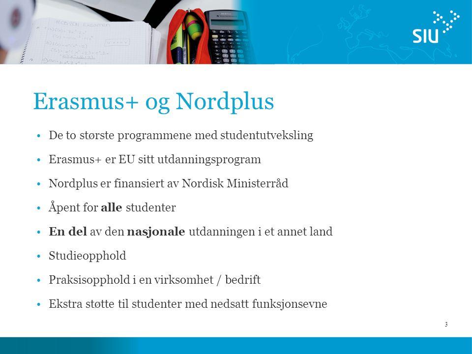 3 Erasmus+ og Nordplus De to største programmene med studentutveksling Erasmus+ er EU sitt utdanningsprogram Nordplus er finansiert av Nordisk Ministerråd Åpent for alle studenter En del av den nasjonale utdanningen i et annet land Studieopphold Praksisopphold i en virksomhet / bedrift Ekstra støtte til studenter med nedsatt funksjonsevne