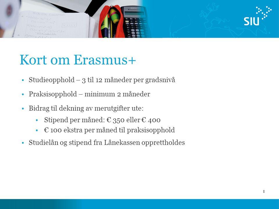 8 Kort om Erasmus+ Studieopphold – 3 til 12 måneder per gradsnivå Praksisopphold – minimum 2 måneder Bidrag til dekning av merutgifter ute: Stipend per måned: € 350 eller € 400 € 100 ekstra per måned til praksisopphold Studielån og stipend fra Lånekassen opprettholdes