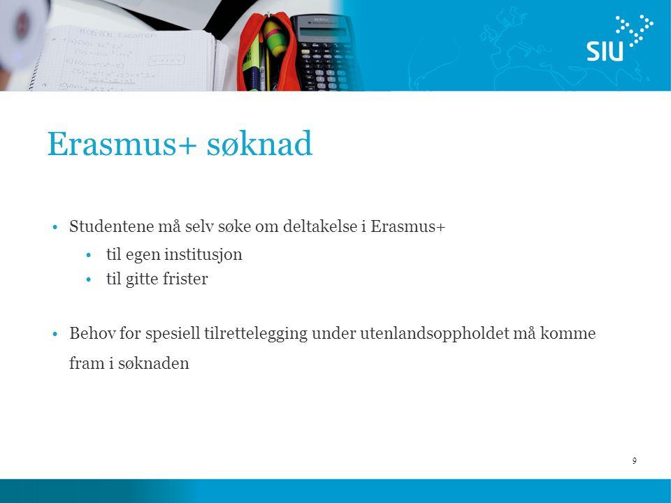 9 Erasmus+ søknad Studentene må selv søke om deltakelse i Erasmus+ til egen institusjon til gitte frister Behov for spesiell tilrettelegging under utenlandsoppholdet må komme fram i søknaden