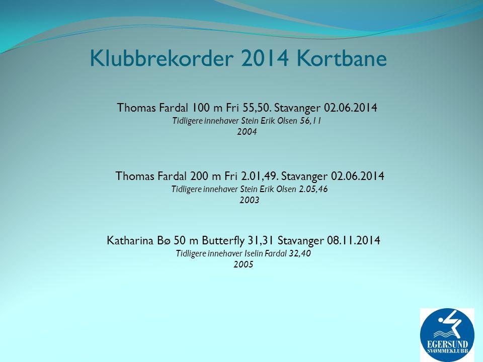 Thomas Fardal 100 m Fri 55,50. Stavanger 02.06.2014 Tidligere innehaver Stein Erik Olsen 56,11 2004 Thomas Fardal 200 m Fri 2.01,49. Stavanger 02.06.2
