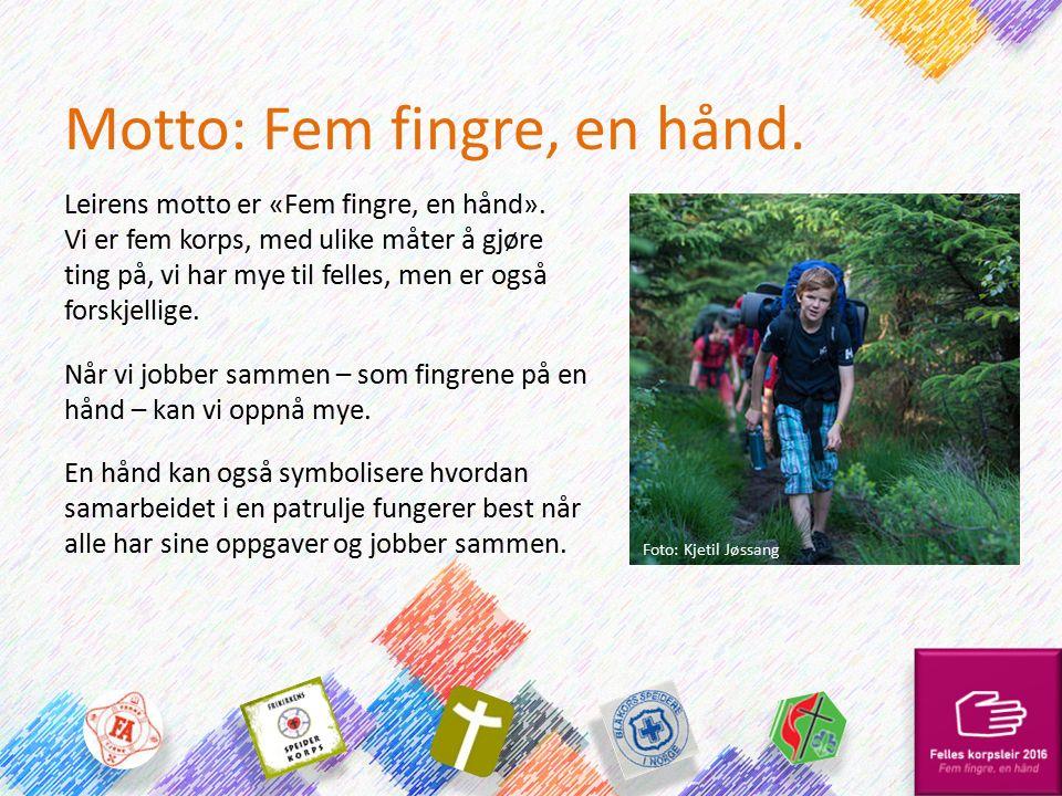 Motto: Fem fingre, en hånd. Leirens motto er «Fem fingre, en hånd». Vi er fem korps, med ulike måter å gjøre ting på, vi har mye til felles, men er og