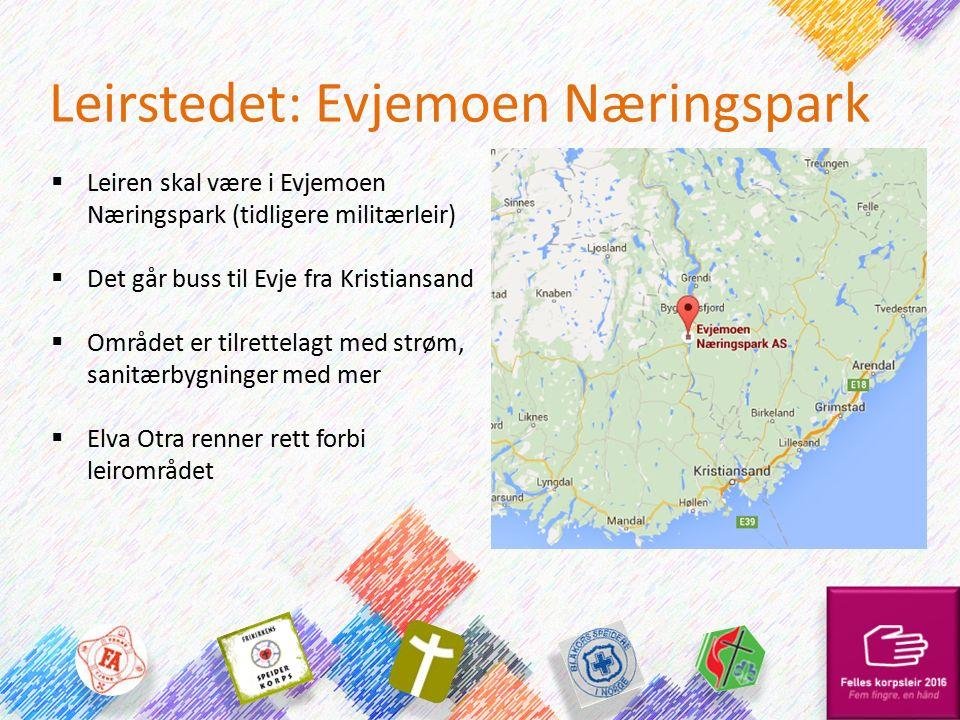 Leirstedet: Evjemoen Næringspark  Leiren skal være i Evjemoen Næringspark (tidligere militærleir)  Det går buss til Evje fra Kristiansand  Området