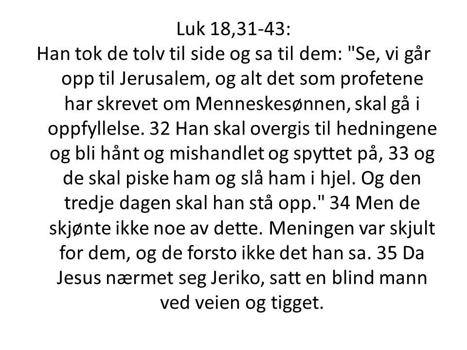 Luk 18,31-43: Han tok de tolv til side og sa til dem: Se, vi går opp til Jerusalem, og alt det som profetene har skrevet om Menneskesønnen, skal gå i oppfyllelse.