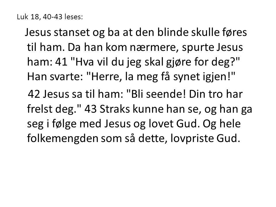 Luk 18, 40-43 leses: Jesus stanset og ba at den blinde skulle føres til ham. Da han kom nærmere, spurte Jesus ham: 41