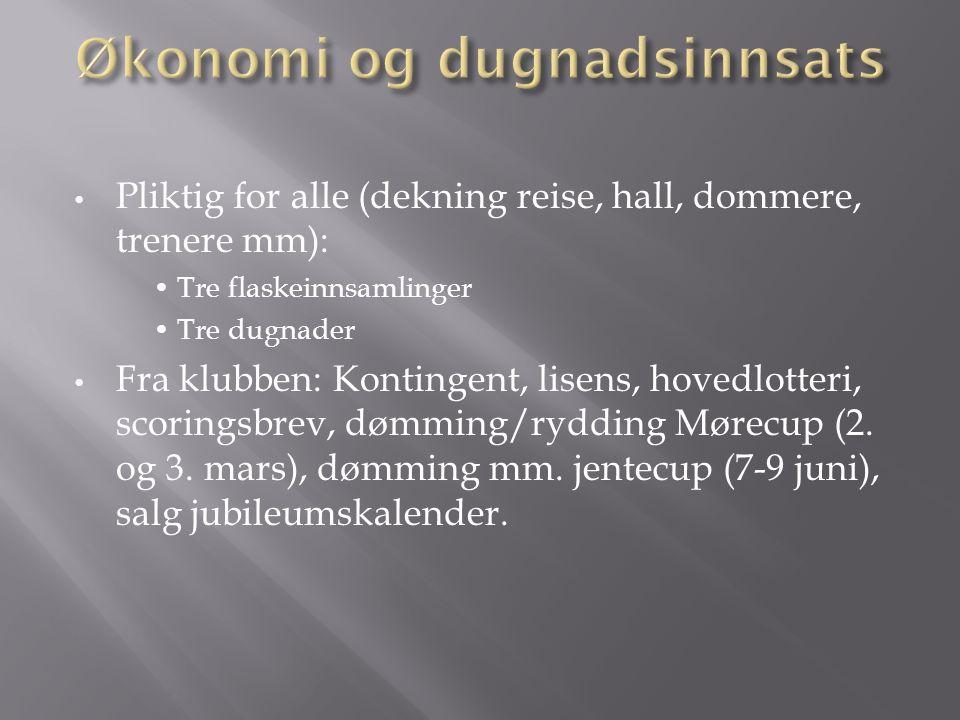 Pliktig for alle (dekning reise, hall, dommere, trenere mm): Tre flaskeinnsamlinger Tre dugnader Fra klubben: Kontingent, lisens, hovedlotteri, scoringsbrev, dømming/rydding Mørecup (2.