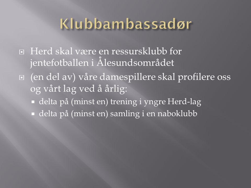  Herd skal være en ressursklubb for jentefotballen i Ålesundsområdet  (en del av) våre damespillere skal profilere oss og vårt lag ved å årlig:  delta på (minst en) trening i yngre Herd-lag  delta på (minst en) samling i en naboklubb