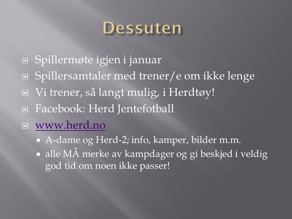  Spillermøte igjen i januar  Spillersamtaler med trener/e om ikke lenge  Vi trener, så langt mulig, i Herdtøy.