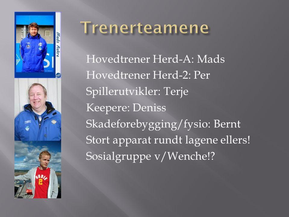 Hovedtrener Herd-A: Mads Hovedtrener Herd-2: Per Spillerutvikler: Terje Keepere: Deniss Skadeforebygging/fysio: Bernt Stort apparat rundt lagene ellers.