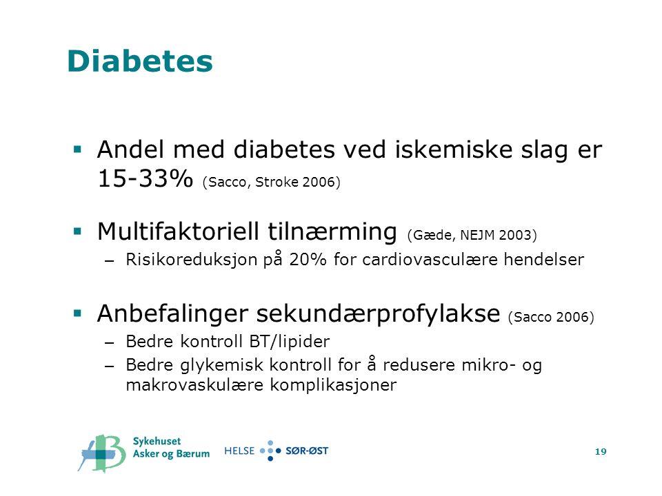 19 Diabetes  Andel med diabetes ved iskemiske slag er 15-33% (Sacco, Stroke 2006)  Multifaktoriell tilnærming (Gæde, NEJM 2003) – Risikoreduksjon på 20% for cardiovasculære hendelser  Anbefalinger sekundærprofylakse (Sacco 2006) – Bedre kontroll BT/lipider – Bedre glykemisk kontroll for å redusere mikro- og makrovaskulære komplikasjoner
