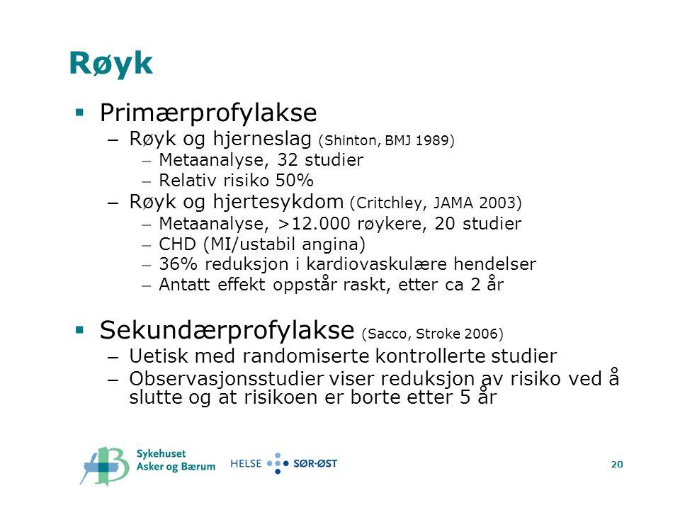 20 Røyk  Primærprofylakse – Røyk og hjerneslag (Shinton, BMJ 1989) – Metaanalyse, 32 studier – Relativ risiko 50% – Røyk og hjertesykdom (Critchley, JAMA 2003) – Metaanalyse, >12.000 røykere, 20 studier – CHD (MI/ustabil angina) – 36% reduksjon i kardiovaskulære hendelser – Antatt effekt oppstår raskt, etter ca 2 år  Sekundærprofylakse (Sacco, Stroke 2006) – Uetisk med randomiserte kontrollerte studier – Observasjonsstudier viser reduksjon av risiko ved å slutte og at risikoen er borte etter 5 år