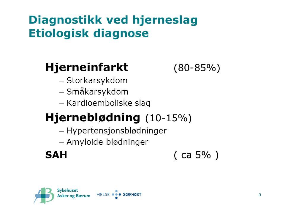 3 Diagnostikk ved hjerneslag Etiologisk diagnose Hjerneinfarkt (80-85%) – Storkarsykdom – Småkarsykdom – Kardioemboliske slag Hjerneblødning (10-15%) – Hypertensjonsblødninger – Amyloide blødninger SAH( ca 5% )