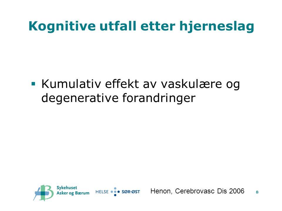8 Kognitive utfall etter hjerneslag  Kumulativ effekt av vaskulære og degenerative forandringer Henon, Cerebrovasc Dis 2006