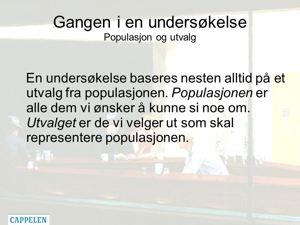 Gangen i en undersøkelse Populasjon og utvalg En undersøkelse baseres nesten alltid på et utvalg fra populasjonen.