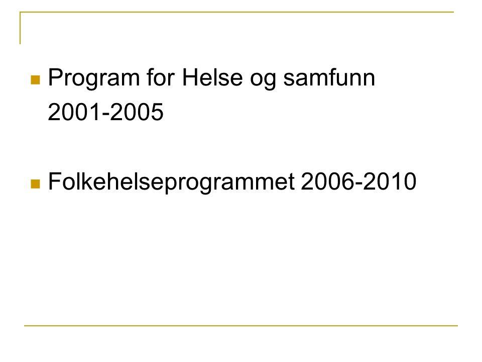 Program for Helse og samfunn 2001-2005 Folkehelseprogrammet 2006-2010