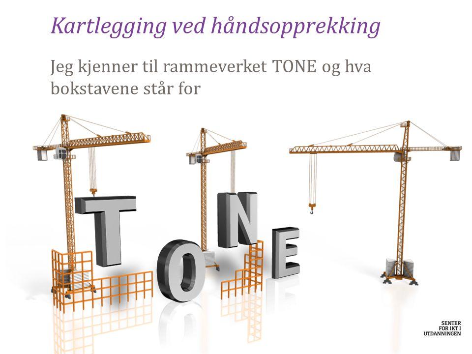 Kartlegging ved håndsopprekking Jeg kjenner til rammeverket TONE og hva bokstavene står for