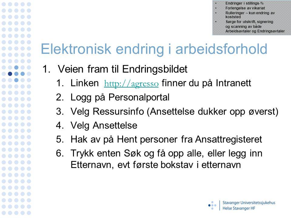 Elektronisk endring i arbeidsforhold 1.Veien fram til Endringsbildet 1.Linken http://agresso finner du på Intranetthttp://agresso 2.Logg på Personalpo