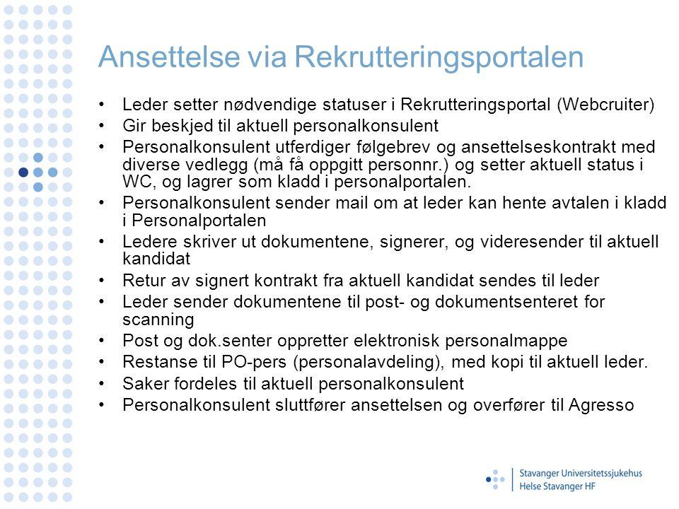 Ansettelse via Rekrutteringsportalen Leder setter nødvendige statuser i Rekrutteringsportal (Webcruiter) Gir beskjed til aktuell personalkonsulent Per
