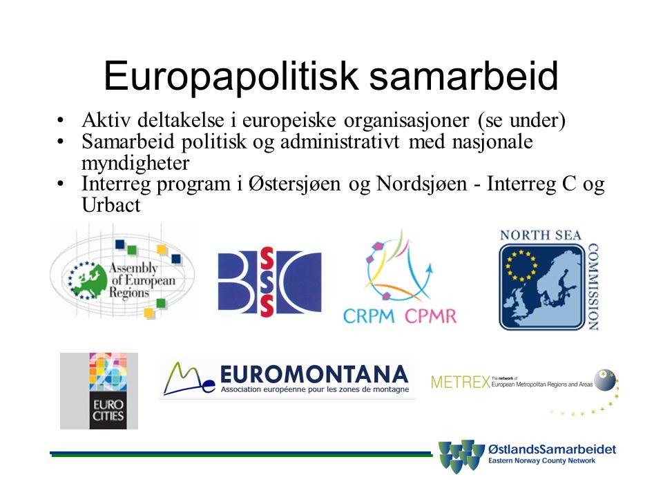 Europapolitisk samarbeid Aktiv deltakelse i europeiske organisasjoner (se under) Samarbeid politisk og administrativt med nasjonale myndigheter Interr