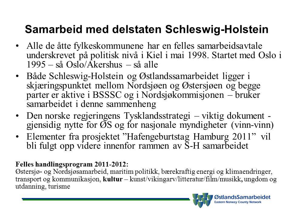 Samarbeid med delstaten Schleswig-Holstein Alle de åtte fylkeskommunene har en felles samarbeidsavtale underskrevet på politisk nivå i Kiel i mai 1998
