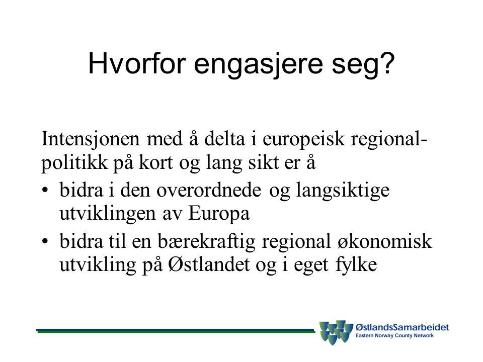 Hvorfor engasjere seg? Intensjonen med å delta i europeisk regional- politikk på kort og lang sikt er å bidra i den overordnede og langsiktige utvikli