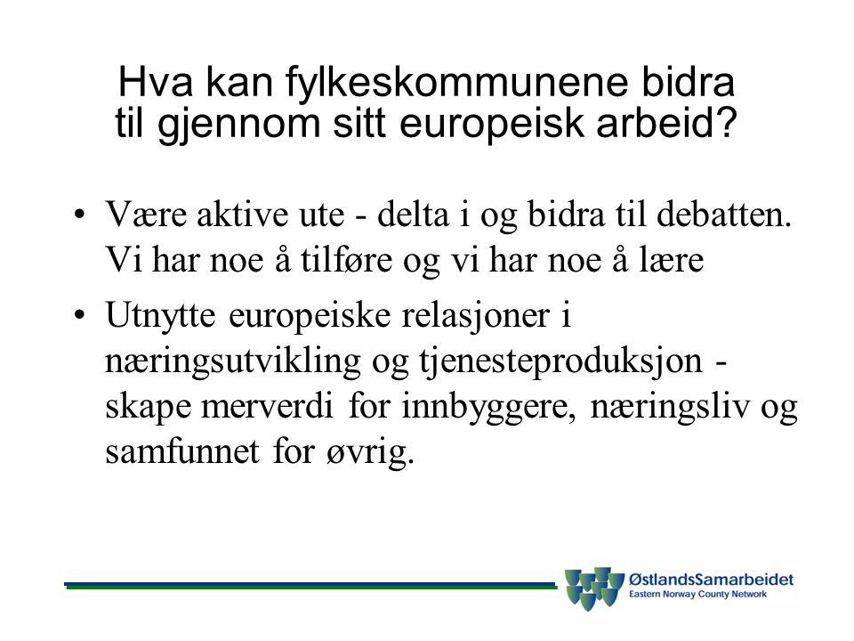 Hva kan fylkeskommunene bidra til gjennom sitt europeisk arbeid? Være aktive ute - delta i og bidra til debatten. Vi har noe å tilføre og vi har noe å