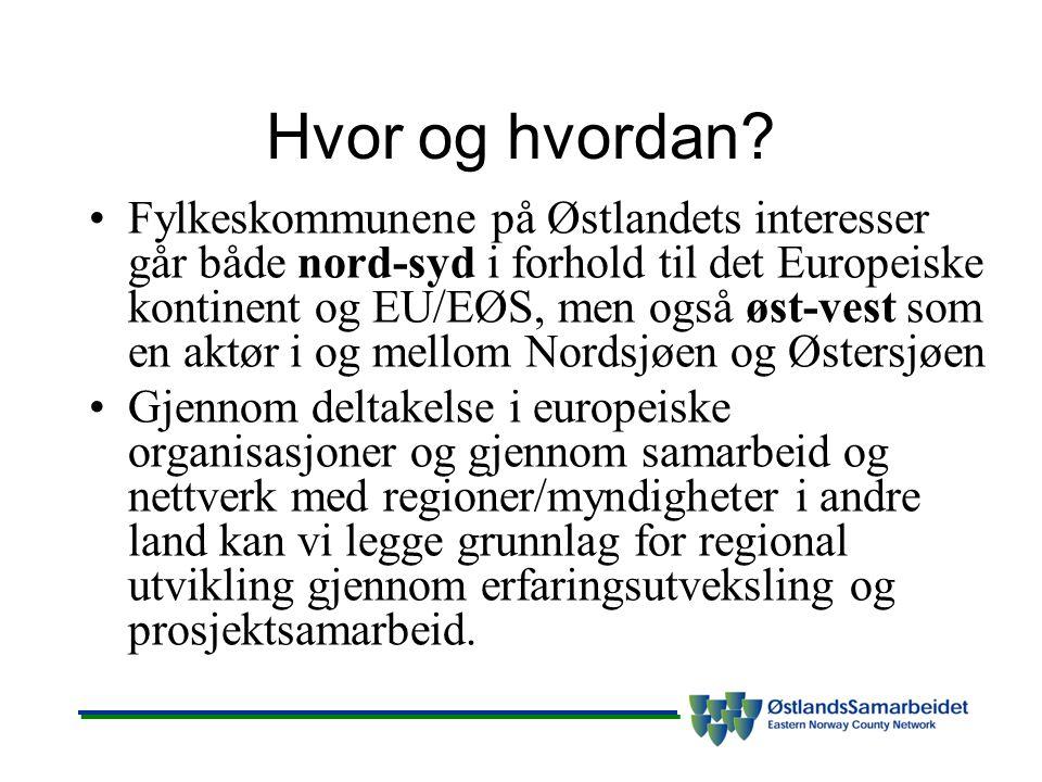 Hvor og hvordan? Fylkeskommunene på Østlandets interesser går både nord-syd i forhold til det Europeiske kontinent og EU/EØS, men også øst-vest som en