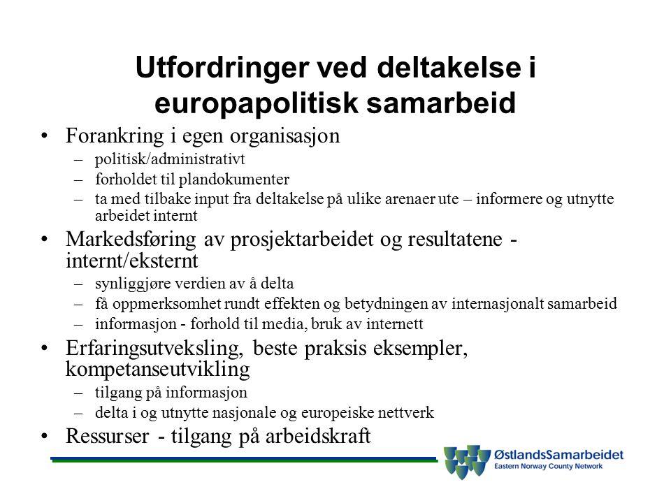 Utfordringer ved deltakelse i europapolitisk samarbeid Forankring i egen organisasjon –politisk/administrativt –forholdet til plandokumenter –ta med t
