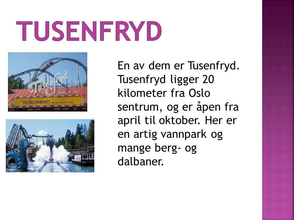 En av dem er Tusenfryd. Tusenfryd ligger 20 kilometer fra Oslo sentrum, og er åpen fra april til oktober. Her er en artig vannpark og mange berg- og d