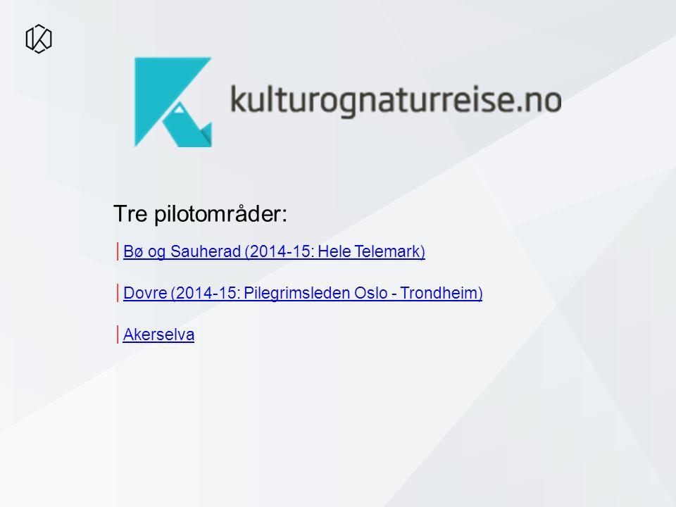 │Bø og Sauherad (2014-15: Hele Telemark)Bø og Sauherad (2014-15: Hele Telemark) │Dovre (2014-15: Pilegrimsleden Oslo - Trondheim)Dovre (2014-15: Pilegrimsleden Oslo - Trondheim) │AkerselvaAkerselva Tre pilotområder: