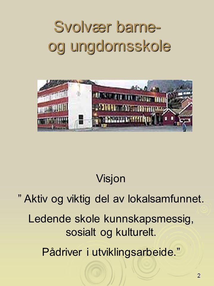 2 Svolvær barne- og ungdomsskole Visjon Aktiv og viktig del av lokalsamfunnet.