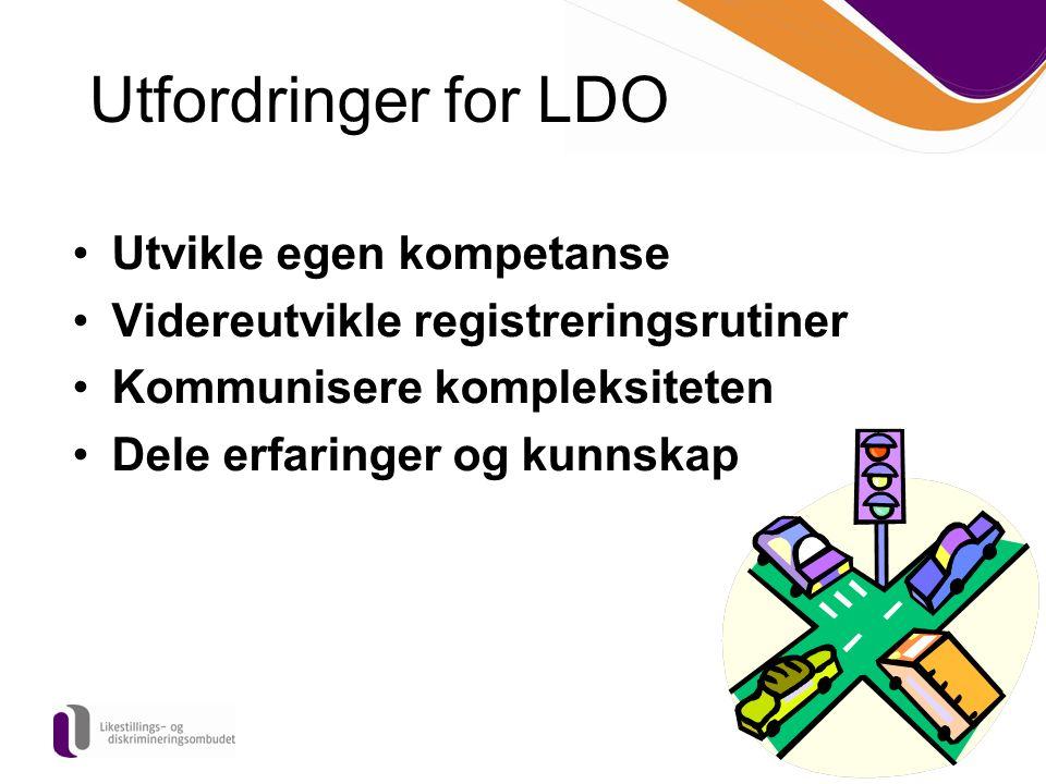 Utvikle egen kompetanse Videreutvikle registreringsrutiner Kommunisere kompleksiteten Dele erfaringer og kunnskap Utfordringer for LDO