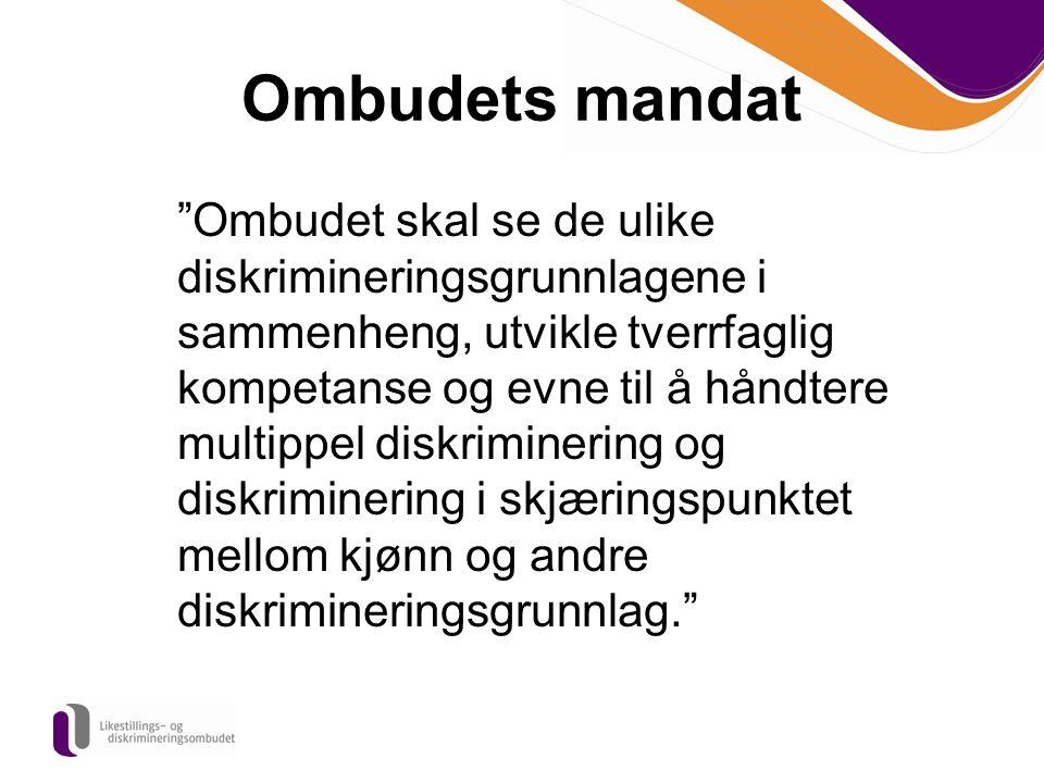 Ombudets mandat Ombudet skal se de ulike diskrimineringsgrunnlagene i sammenheng, utvikle tverrfaglig kompetanse og evne til å håndtere multippel diskriminering og diskriminering i skjæringspunktet mellom kjønn og andre diskrimineringsgrunnlag.