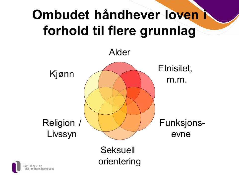 Ombudet håndhever loven i forhold til flere grunnlag Alder Etnisitet, m.m. Funksjons- evne Seksuell orientering Religion / Livssyn Kjønn