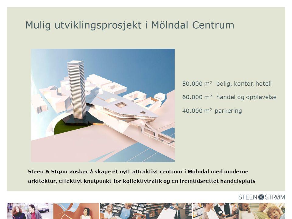 Steen & Strøm ønsker å skape et nytt attraktivt centrum i Mölndal med moderne arkitektur, effektivt knutpunkt for kollektivtrafik og en fremtidsrettet handelsplats Mulig utviklingsprosjekt i Mölndal Centrum 50.000 m 2 bolig, kontor, hotell 60.000 m 2 handel og opplevelse 40.000 m 2 parkering