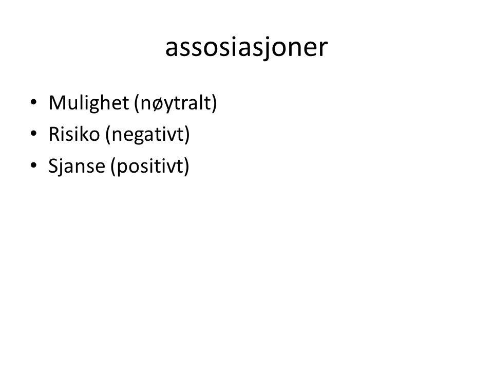 assosiasjoner Mulighet (nøytralt) Risiko (negativt) Sjanse (positivt)