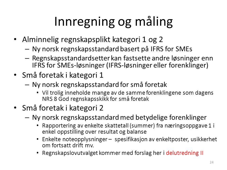 Innregning og måling Alminnelig regnskapsplikt kategori 1 og 2 – Ny norsk regnskapsstandard basert på IFRS for SMEs – Regnskapsstandardsetter kan fastsette andre løsninger enn IFRS for SMEs-løsninger (IFRS-løsninger eller forenklinger) Små foretak i kategori 1 – Ny norsk regnskapsstandard for små foretak Vil trolig inneholde mange av de samme forenklingene som dagens NRS 8 God regnskapsskikk for små foretak Små foretak i kategori 2 – Ny norsk regnskapsstandard med betydelige forenklinger Rapportering av enkelte skattetall (summer) fra næringsoppgave 1 i enkel oppstilling over resultat og balanse Enkelte noteopplysninger – spesifikasjon av enkeltposter, usikkerhet om fortsatt drift mv.