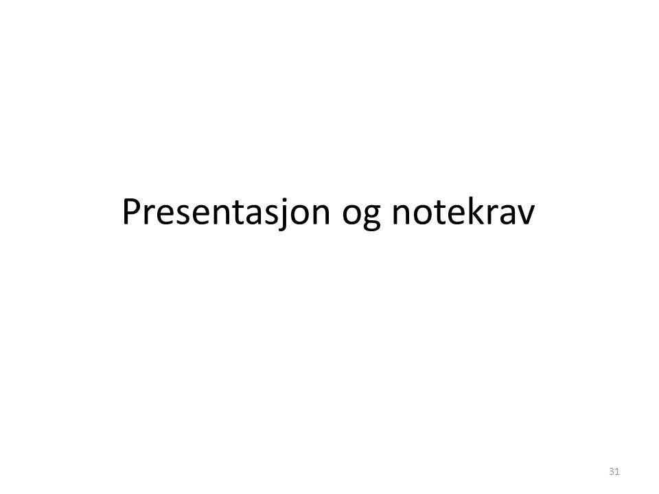 Presentasjon og notekrav 31