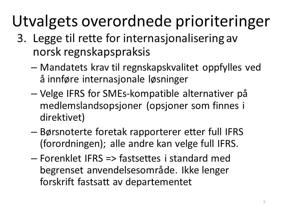 3.Legge til rette for internasjonalisering av norsk regnskapspraksis – Mandatets krav til regnskapskvalitet oppfylles ved å innføre internasjonale løsninger – Velge IFRS for SMEs-kompatible alternativer på medlemslandsopsjoner (opsjoner som finnes i direktivet) – Børsnoterte foretak rapporterer etter full IFRS (forordningen); alle andre kan velge full IFRS.