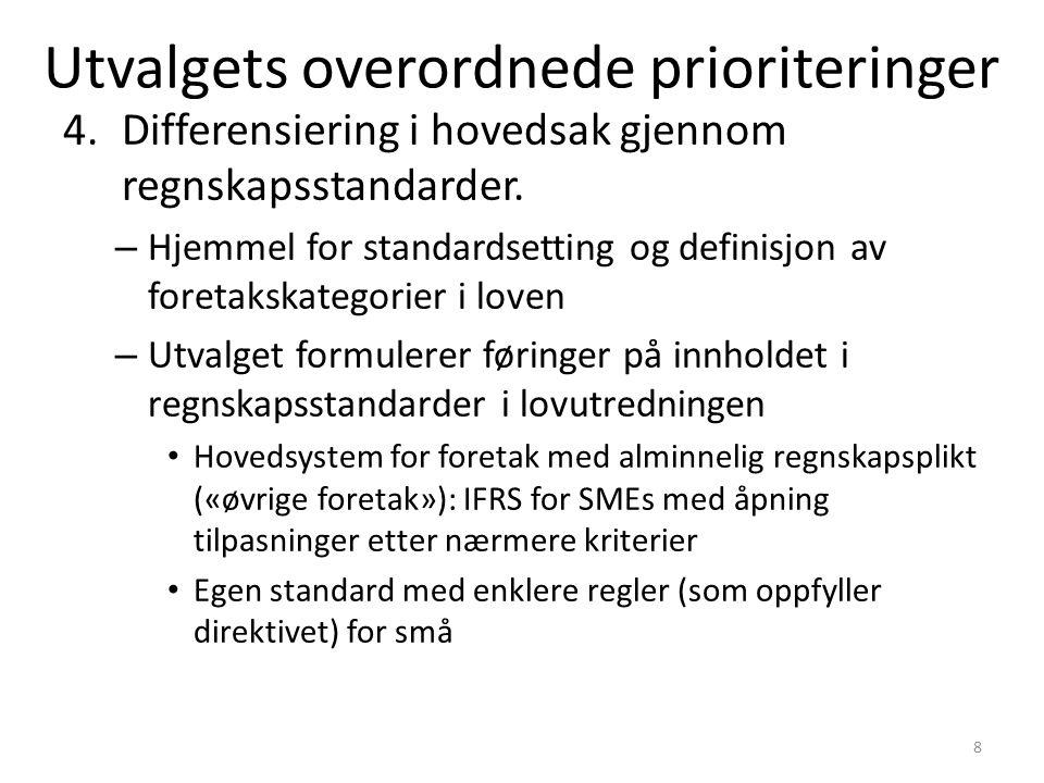 4.Differensiering i hovedsak gjennom regnskapsstandarder.