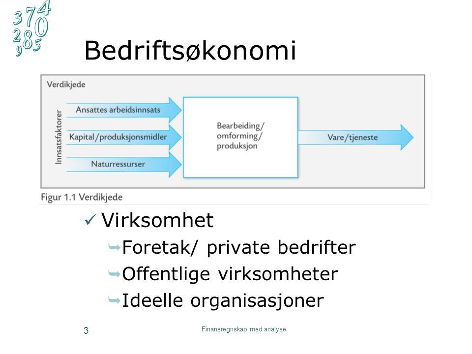 Bedriftsøkonomi Virksomhet  Foretak/ private bedrifter  Offentlige virksomheter  Ideelle organisasjoner Finansregnskap med analyse 3