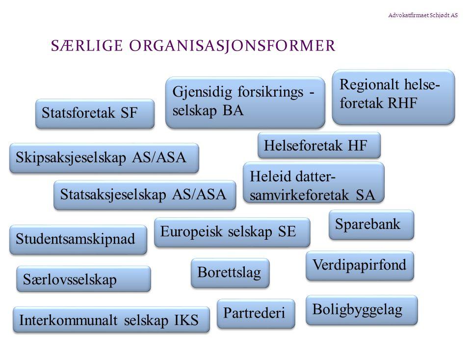 Advokatfirmaet Schjødt AS SÆRLIGE ORGANISASJONSFORMER Statsforetak SF Gjensidig forsikrings - selskap BA Skipsaksjeselskap AS/ASA Heleid datter- samvi