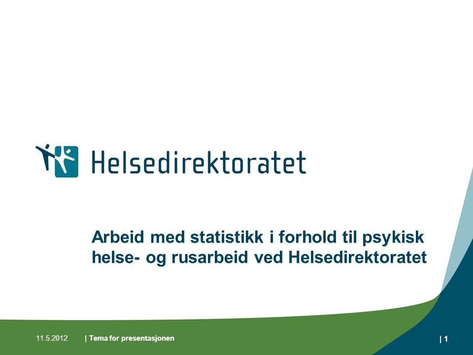 11.5.2012| Tema for presentasjonen | 1 Arbeid med statistikk i forhold til psykisk helse- og rusarbeid ved Helsedirektoratet