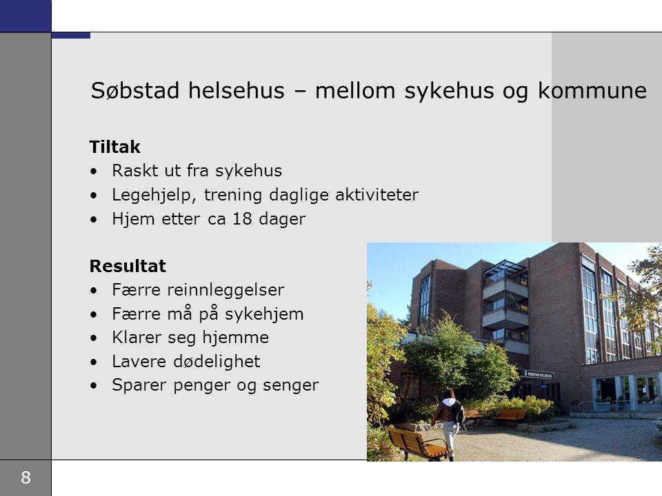 8 Søbstad helsehus – mellom sykehus og kommune Tiltak Raskt ut fra sykehus Legehjelp, trening daglige aktiviteter Hjem etter ca 18 dager Resultat Færr