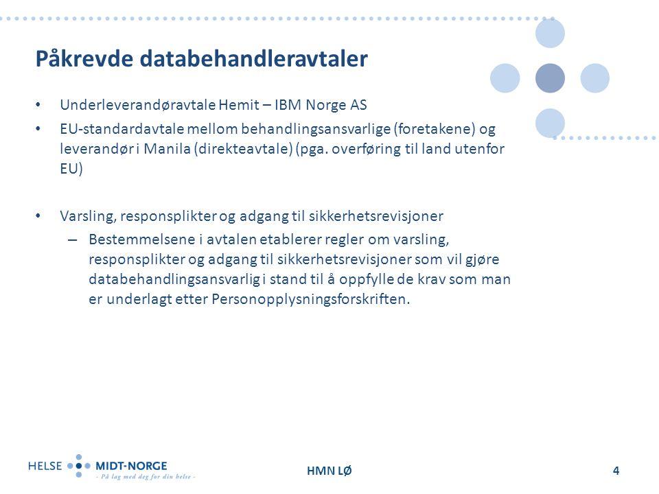 Påkrevde databehandleravtaler Underleverandøravtale Hemit – IBM Norge AS EU-standardavtale mellom behandlingsansvarlige (foretakene) og leverandør i Manila (direkteavtale) (pga.